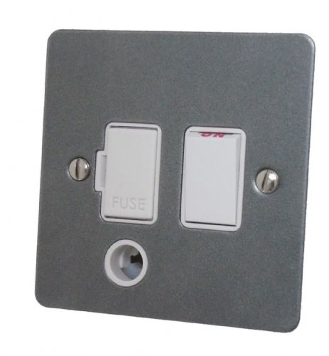 G&H FP56W Flat Plate Pewter 1 Gang Fused Spur 13A Switched & Flex Outlet